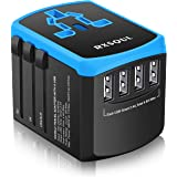 RXSQUL Universal International Travel Power Adapter W/Smart High Speed 4.6A 4xUSB , European Adapter, Worldwide AC…