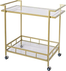 RiteSune Wine Bar Cart with 2 Glass Shelves and Casters for Home Kitchen Club, Antique Gold Finish (30x17x31inch Gold)