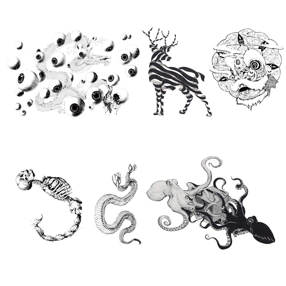 5 Creative Design Temporary Tattoos by Inktells 2020 new,Waterproof fake tattoos for Women Men Adult Kids Boys Girls,Neck Back Arm Hand Stickers about Amimal Octopus Snake Eyes Dragon(4 sheets)