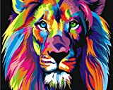 Arts Language Wooden Framed 16'' x 20'' Picture On Wall Acrylic Paint by Numbers Diy Painting T1254 Colorful Abstract Lion