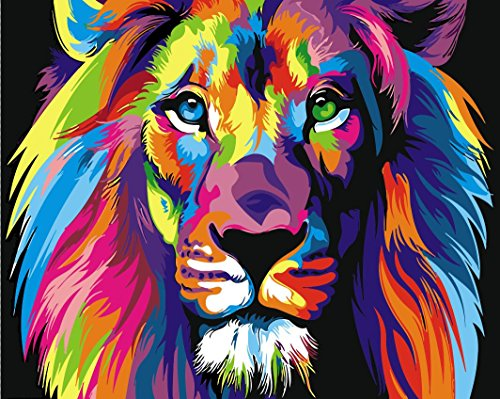 Arts Language Wooden Framed 16'' x 20'' Picture On Wall Acrylic Paint by Numbers Diy Painting T1254 Colorful Abstract Lion by Arts Language