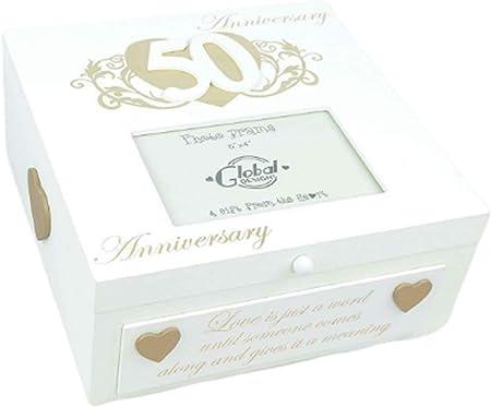 Tamaño grande Ex Memory Box Memories 50 th Anniversary caja de recuerdos Golden f1714C: Amazon.es: Hogar