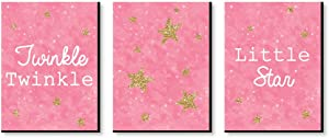 Big Dot of Happiness Pink Twinkle Twinkle Little Star - Baby Girl Nursery Wall Art and Kids Room Decorations - Gift Ideas - 7.5 x 10 inches - Set of 3 Prints