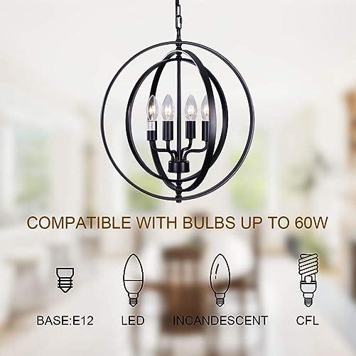 T A Black Sphere Farmhouse Chandelier,Pivoting Interlocking Rings 18 4-Light Kitchen Island Light,Globe Orbits Pendant Lights for Dining Rooms Living Rooms