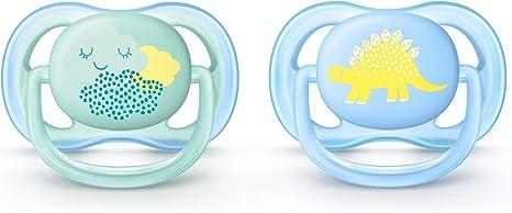 Philips Avent SCF344/20 - Pack con 2 chupetes Ultra Air decorados, de 0 a 6 meses, niño, color azul y amarillo: Amazon.es: Bebé
