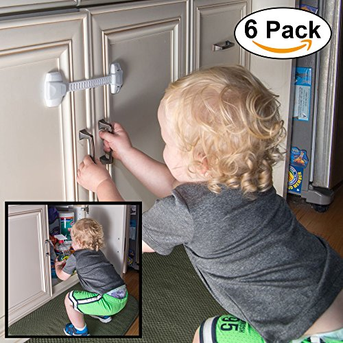 child safty cabinet locks 3m adhesives adjustable strap 6pack white drawer locks ebay. Black Bedroom Furniture Sets. Home Design Ideas
