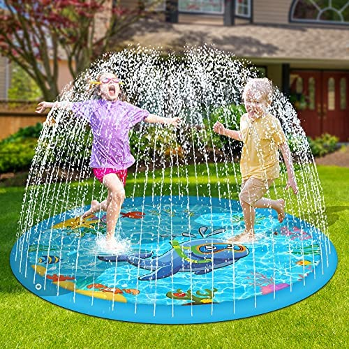"""Perglad Splash Pad, 68"""" Sprinkler for Kids Dogs Outdoor Water Toys for 4-9 Year Old Boys Girls, Kiddie Baby Pool for Outside Fun Summer Gifts for 3-12 Year Old Girls"""