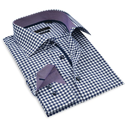 Levinas Mens Shirts Dress Shirts - 100% Cotton Long Sleeve- Button Down Shirts - Contemporary Fit Navy Gingham (Dress Gingham Navy)