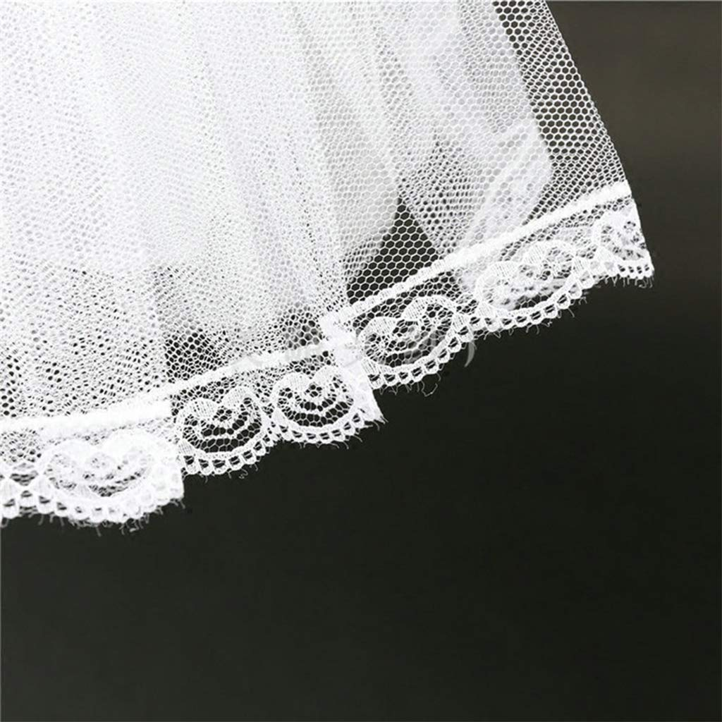 White-Length:45cm//17.71in 1 Piece kinmyte Women Girls Double Layers Solid Color Short Tulle Petticoats Elastic Waistband A Line Mesh Underskirt Crinolines for Wedding Dress