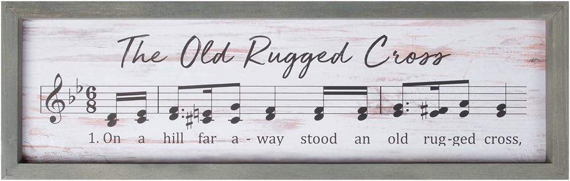 P. Graham Dunn Old Rugged Cross Rustic Sheet Music 24.5 x 7.75 Inch Wood Framed Art Wall Plaque