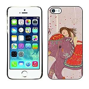Cubierta de la caja de protección la piel dura para el Apple iPhone 5 / 5S - drawing India girl art