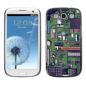 KOKO CASE / Samsung Galaxy S3 I9300 / chip de computadora tecnología de código de arte verde / Delgado Negro Plástico caso cubierta Shell Armor Funda Case Cover