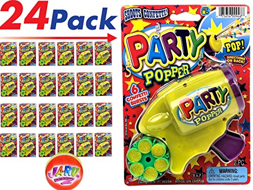 Party Confetti Gun (Pack of 24) by JA-RU and Bugs Prank Item 948-24 -