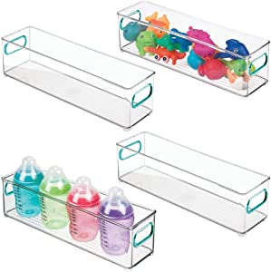 mDesign Slim Storage Organizer Container Bin with Handles for Kids Supplies in Kitchen, Pantry, Nursery, Bedroom, Playroom - Holds Snacks, Bottles, Baby Food - 4