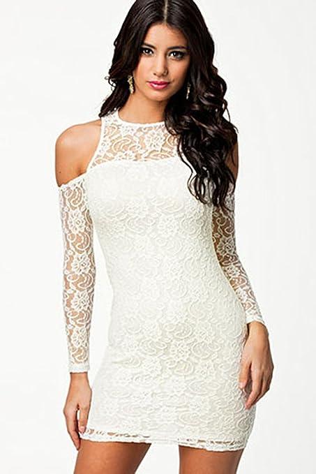 Señoras color blanco frío hombro encaje Mini vestido Club desgaste vestido de fiesta tamaño UK 6