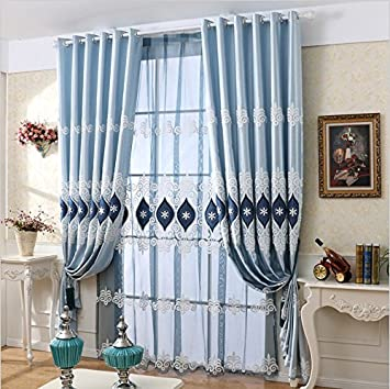Perfect TIYANA European Curtains Delicate Embroidery Curtains Blue Cloth Curtains  Grommet Top Luxurious Royal Style Window Panels