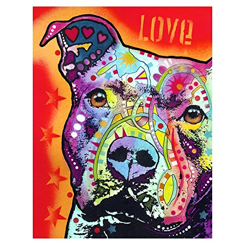 (Thoughtful Pitbull Printed on a 10x13 inch Metal Wall Art by Dean Russo)