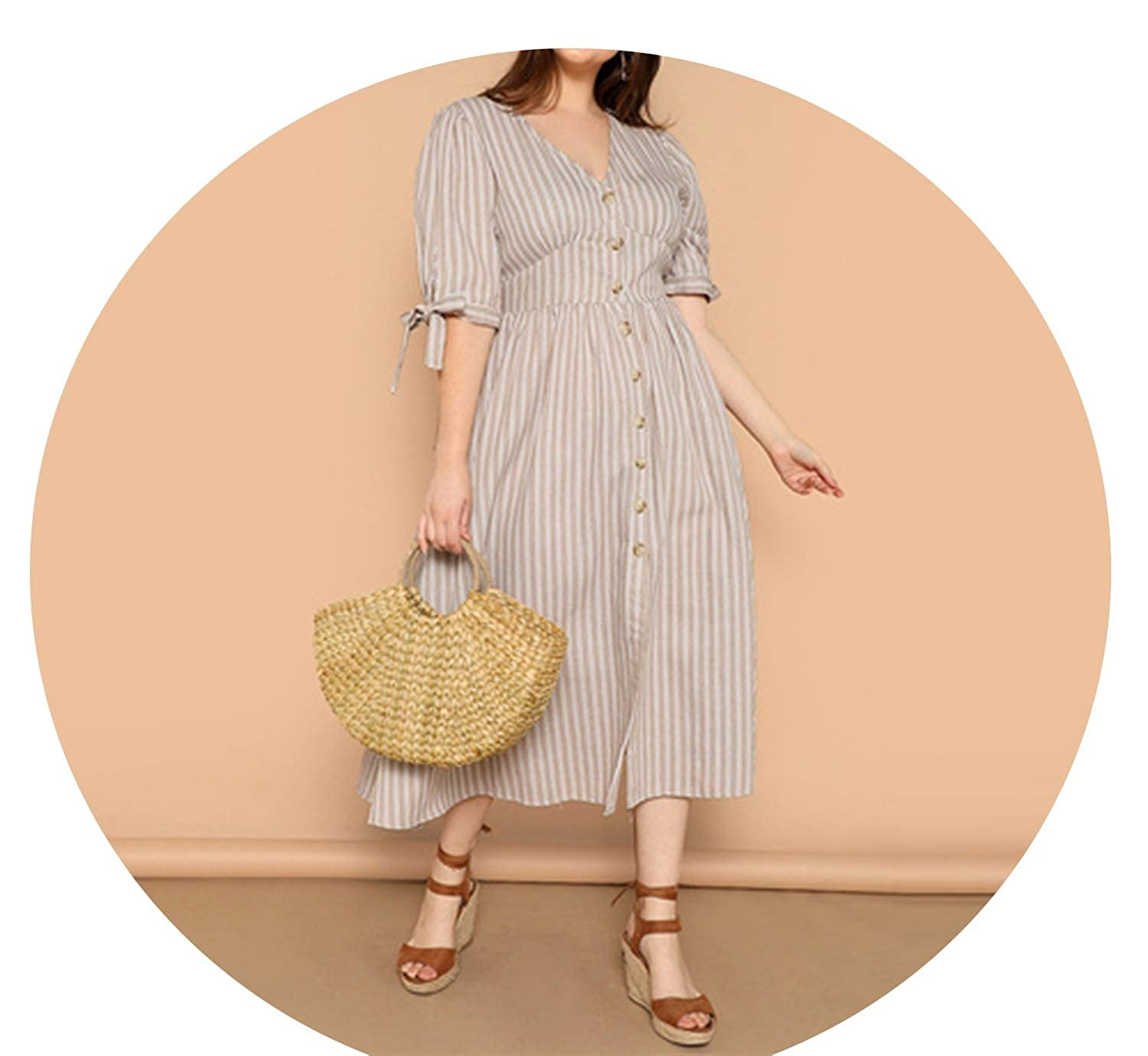 Multi Lost Stars Multicolor Knot Cuff Button Up Striped Dress Summer Boho V Neck Half Sleeve Cotton Shift Dresses