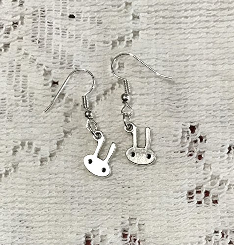 Bunny Charm earrings on Silver Tone french style ear wires - Bunny Earrings - Rabbit Charms - Easter Earrings - Gift for Her -