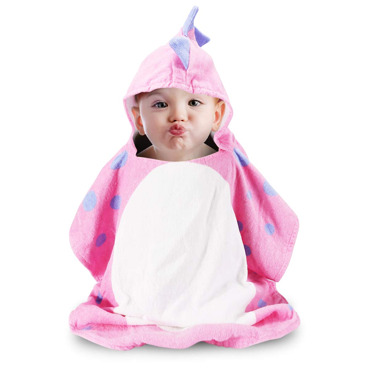 1 pcs,Pink Soft,Light Cotton Beach Towel for Age 1-5 Years Toddlers and Children with Cute Animal Design,Multi-use for Bath//Shower//Pool//Swim//Baby Girl Gift Photo Shoot Props Hooded Baby Towel