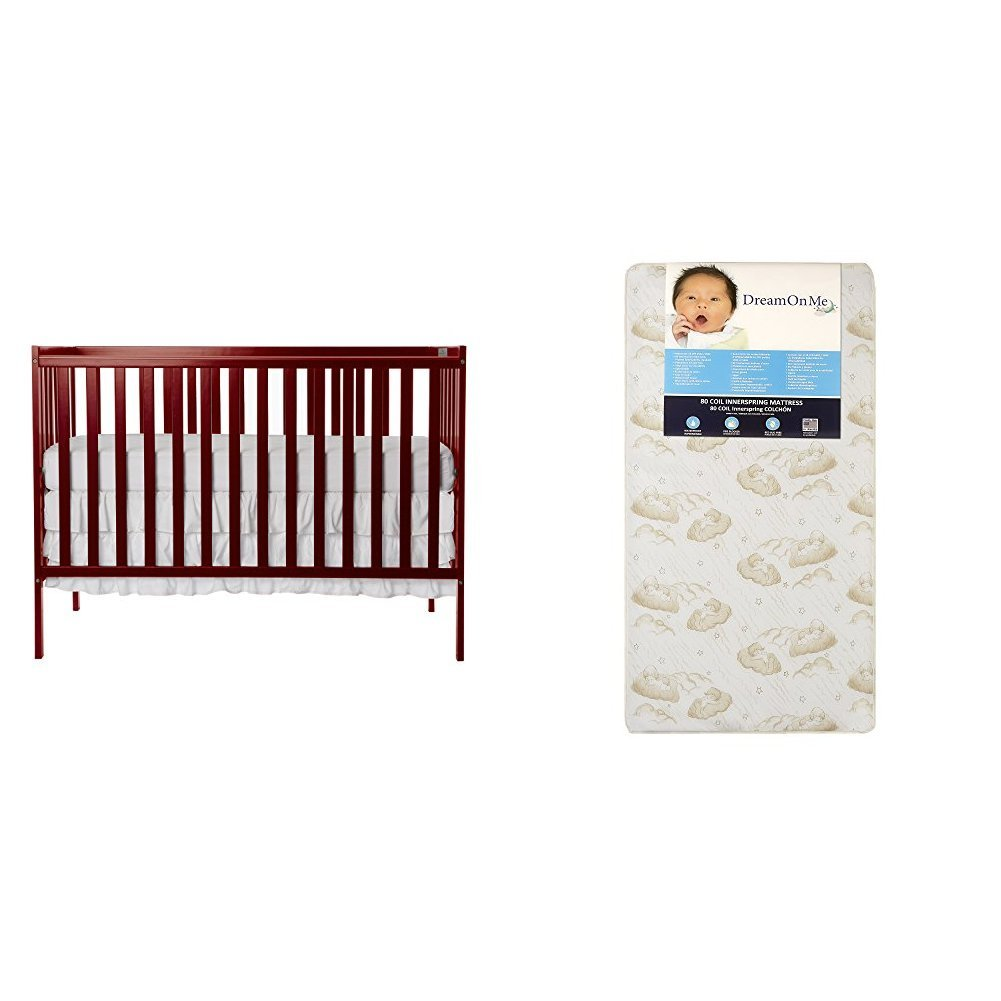 Dream On Me Synergy 5-in-1 Convertible, Crib + Mattress, Cherry