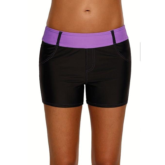 07cedcf25987e QDASZZ Women s Adjustable Waistband Swim Board Shorts Swim Beach Board Shorts  Bottom Pockets (Black+