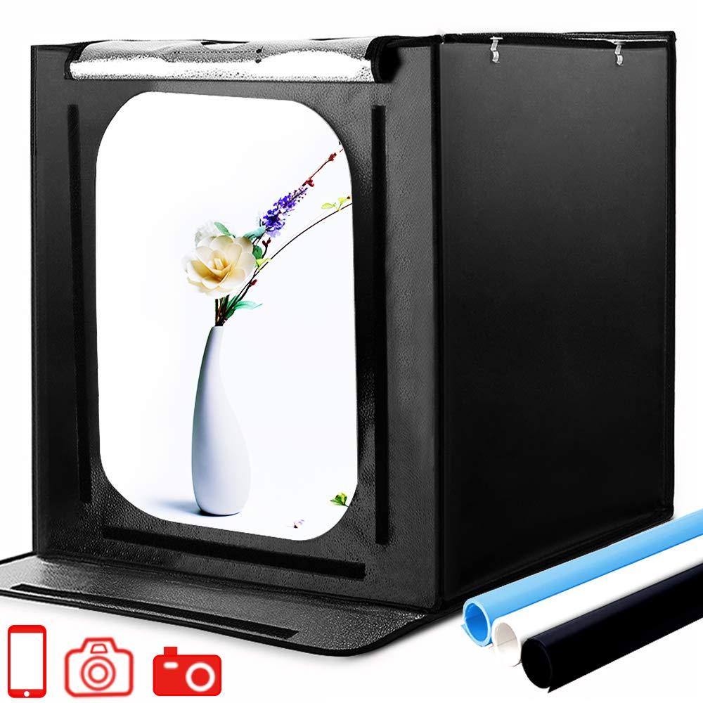 Photo Box, SAMTIAN 24''x24''x24''/60x60x60cm Professional Light Box 88 LED Light Shooting Tent with 3 Background Papers
