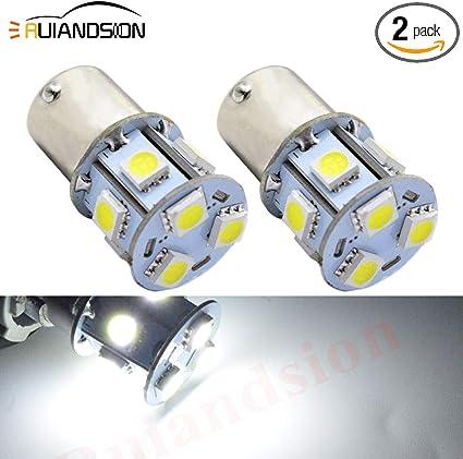 Ruiandsion 2pcs 1157 BAY15D DC 6V Super Bright 5050 12SMD Chipsets LED Replacement Bulb for Reverse Light Turn Signal Light Tail Light 6V, White