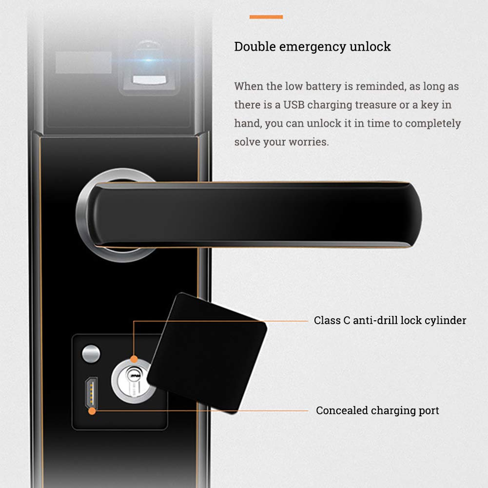Smart Door Lock 5 in 1 semiautomatic Electronic Biometric Fingerprint Door Lock, Home Entry for Bedroom Apartment Office (Aluminum Alloy) by SFXYJ (Image #5)