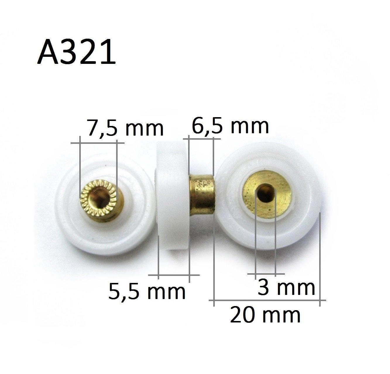 Roulette Porte Roulette de Douche 18.3mm Roulette Porte de Douche Roue de Porte Coulissante Porte a Roulette A282 8pcs