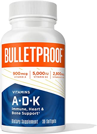 Vitamins A-D-K, 30 Softgels, 900mcg Vitamin A, with 5000 IU D3, K1, K2, K3, High Potency Bulletproof Keto Supplement for Heart, Bone Health and Immune Support