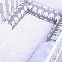 Peggy's Cove Baby Crib Bumper Nursery Cradle Decor Newborn Cushion Junior Bed Sleep Bumper (2 Meters, White-Gray-Elephant)