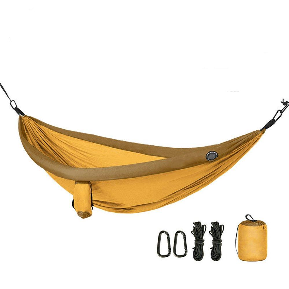 Zhongsufei Leichte Camping Hängematte mit Einkaufstasche Hängematte Outdoor Indoor Home Schlafen Swing Double Adult Mosquito (Farbe : Gelb)