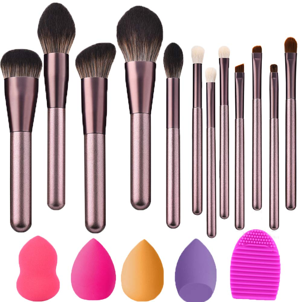 12 PCs Makeup Brushes Set tools Make-up Premium Synthetic Wool Makeup Brushes Set &4 Blender Sponge & 1 Brush Cleaner
