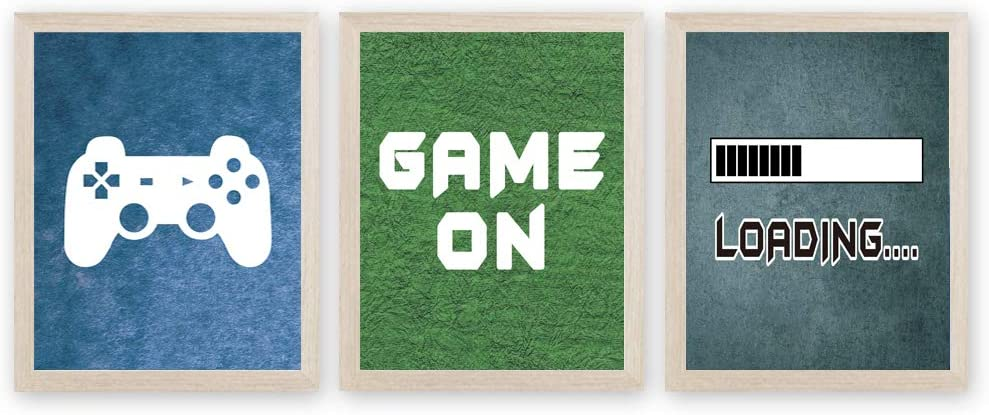 CHDITB Video Games Art Print Gaming Painting, Set of 3 <8x10 inch>Funny Quotes Canvas Printing Controller Posters for Boys Playroom Bedroom Decor『Framed, Ready to Hang』