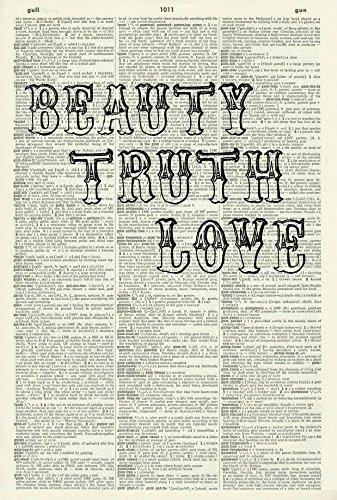 BEAUTY TRUTH LOVE ART PRINT - MOULIN ROUGE ART PRINT - FRENCH ART PRINT - QUOTE ART PRINT - Wall Art - ART PRINT - Illustration - Picture - Vintage Dictionary Art Print - Book Print 374D ()