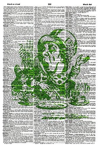 (Green Mad Hatter ART PRINT - VINTAGE ART PRINT - ALICE IN WONDERLAND ART PRINT - Vintage Dictionary Art Print - NURSERY ART PRINT - Illustration - Picture - Book Print - Children's Art Print 605D)