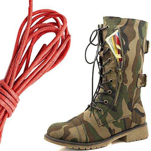 Dailyshoes Damesschoen Met Militaire Veter Gesp Midden Van De Knie Midden Exclusieve Exclusieve Creditcardzak, Rood Klassiek Leger