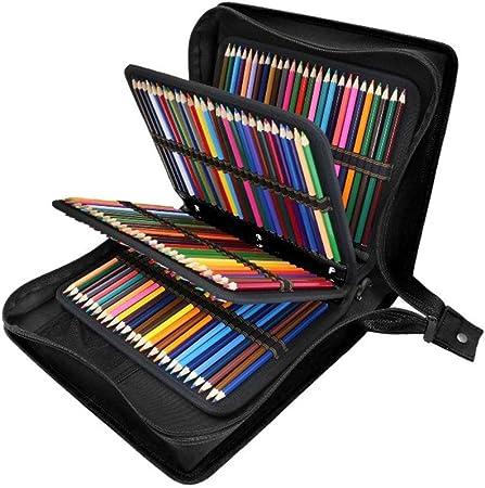 BYEON Estuche de lápices con Ranuras de Cuero de la PU Soporte Extra para Fundas de lápices - Paquete para lápices de Acuarela, lápices de Colores Crayola, lapiceros Marco y Cepillo cosmético,Black: