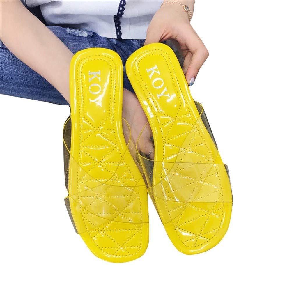 YUCH Pantoufles pour Femmes Plage Les Étudiants Transparents Transparents Portent des Pantoufles Sandales De Plage Yellow bcb9a5b - reprogrammed.space