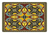 Ambesonne Oriental Pet Mat for Food and Water, Middle Orient Eastern Ethnic Design Different Floral Swirl Detailed Image Artwork, Rectangle Non-Slip Rubber Mat for Dogs and Cats, Multicolor