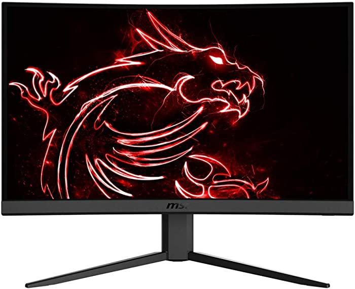 "MSI 24"" FHD 1500R Curvature Non-Glare Super Narrow Bezel 1ms 1920 x 1080 144Hz Refresh Rate Tilt Adjustment FreeSync Curved Gaming Monitor (Optix G24C4), Black"
