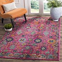 Safavieh Artisan Collection ATN336F Vintage Bohemian Fuchsia and Multi Distressed Area Rug (4 x 6)