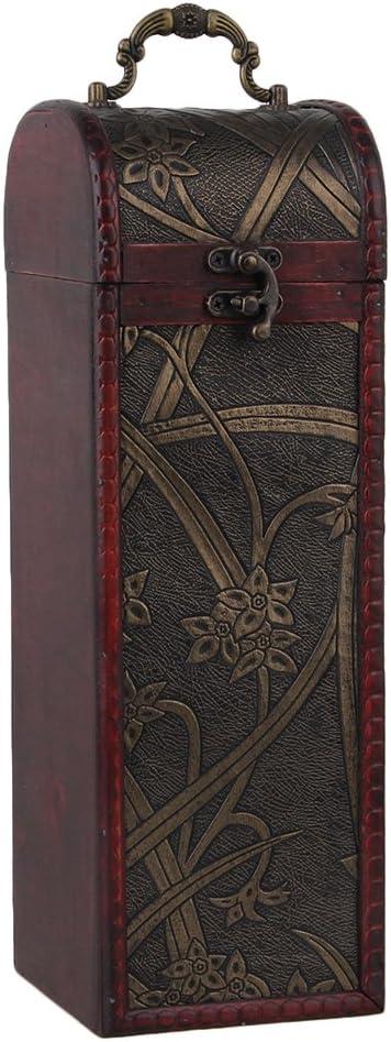 BQLZR Caja de botella de vino de madera natural de la vendimia para 1 juego del regalo de la botella Cilindro rectangular del patr¨®n del narciso con la manija