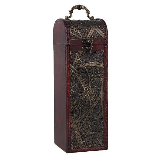 BQLZR Caja de botella de vino de madera natural de la vendimia para 1 juego del regalo de la botella Cilindro rectangular del patrš®n del narciso con la ...