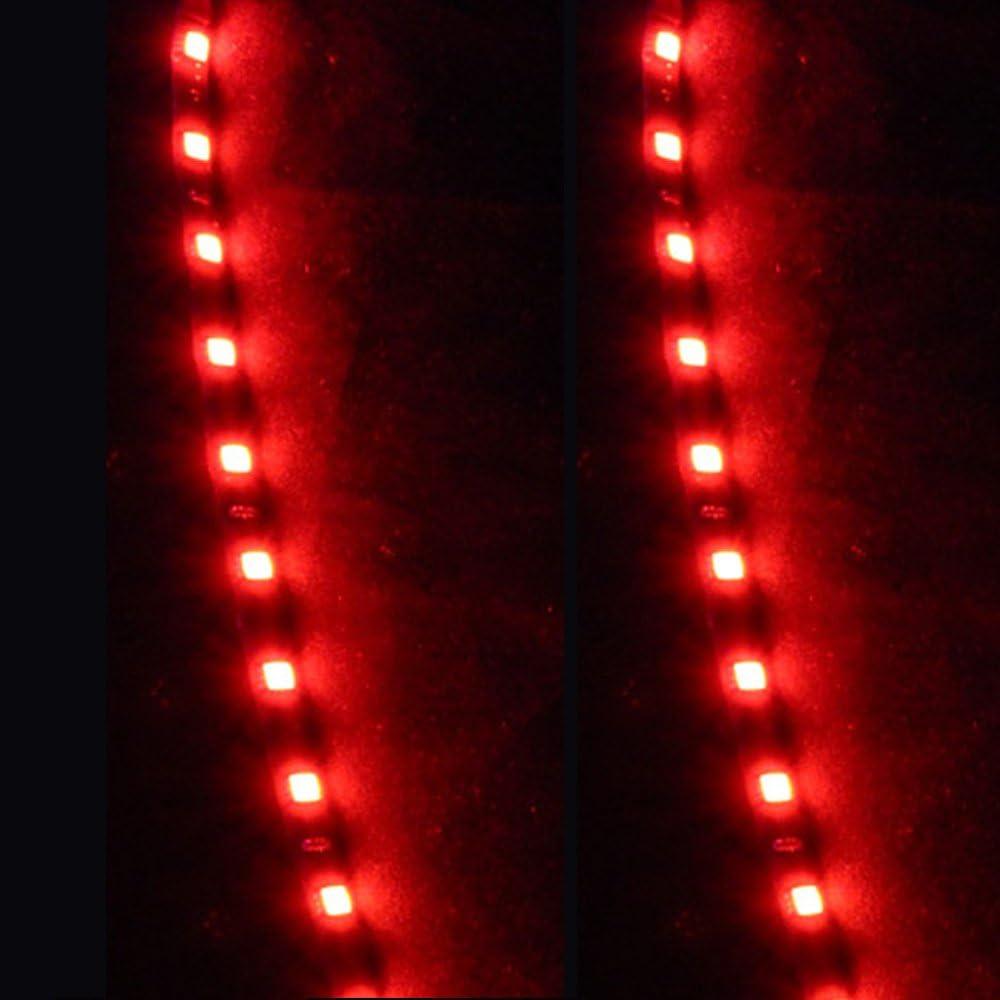 E Support/™ 8Pcs 30cm 15 Leds SMD Waterproof Flexible Red Light Strip Bar car Light Flexible Strip