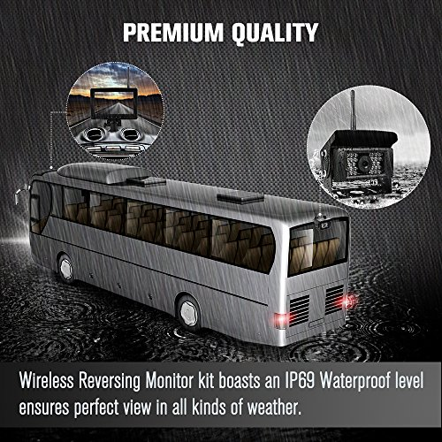 Digital Wireless Backup Camera kit for RV, IP69 Waterproof No Interference Super Night Vision Rear View Cam with 7'' LCD Reversing Monitor for Truck, Trailer, RV, Van, Large Vehicles by Coolwoo (Image #2)'