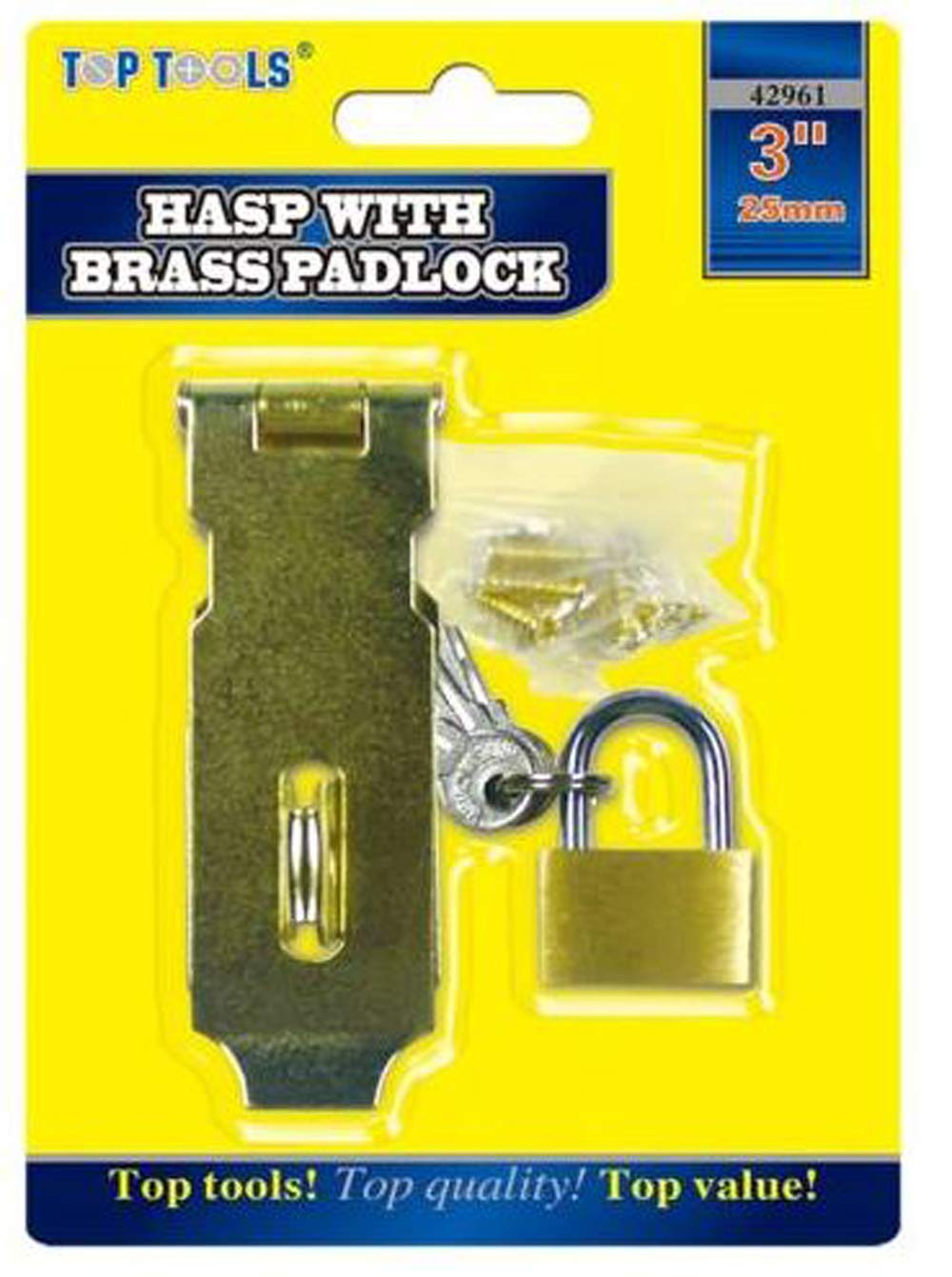 3' Safety Hasp & Staple Gate Door Shed Latch Lock Box Chest with Brass Padlock DINA INTERNATIONAL