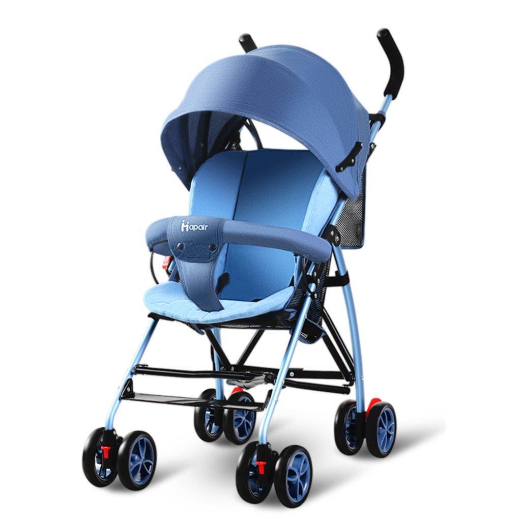 HAIZHEN マウンテンバイク ベビーカート軽量Foldableはショッピングバスケットで座ることができますアルミ合金の日よけ日焼け止めベビーキャリッジ94 * 57 * 44センチメートル 新生児 B07DLDD88H青