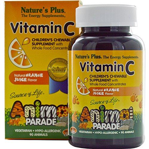 Nature's Plus, Source of Life, Animal Parade, Vitamin C, Children's Chewable Supplement, Natural Orange Juice Flavor, 90 Animals - 2pc